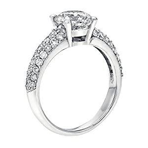 GIA Certified 14k white-gold Round Cut Diamond Engagement Ring (1.83 cttw, I Color, VS1 Clarity)
