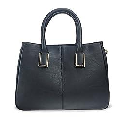 Hoxis Chic Handle Faux Leather Handbag Office Lady Tote/ Magnetic Snap Purse Women Shoulder Handbag(update Black)