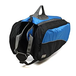 Kyjen 2502 Dog Backpack Dog Pack Easy-Fit Saddlebag Style, Extra Large, Blue