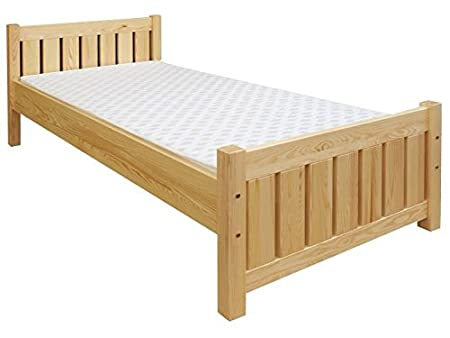 Children's bed / Youth bed 66, solid pine wood, clearly varnished, incl. slatted bed frame - 80 x 200 cm