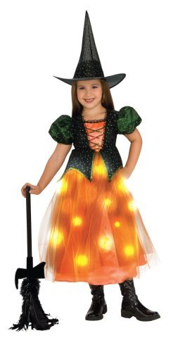 Child's Twinkle Witch Costume with Fiber Optic Twinkle Skirt