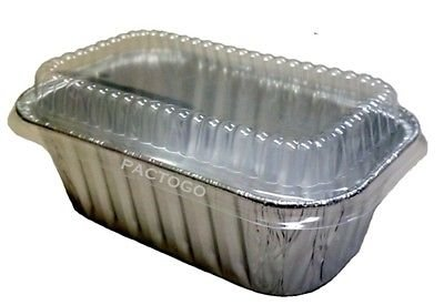 Handi-Foil 1 lb. Aluminum Foil Mini-Loaf/Bread Baking Pan w/Clear Low Dome Lid (pack of 12)