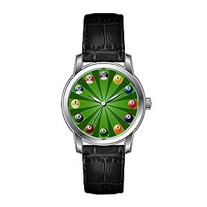 AMS Christmas Gift Watch Women's Vintage Design Leather Black Band Wrist Watch Billiards Wristwatches