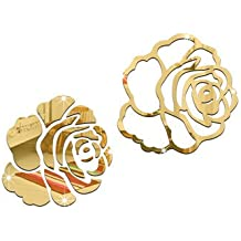 Creative Rose 3D Mirror Wall Stickers DIY Home Living Room Wall Decoration-A