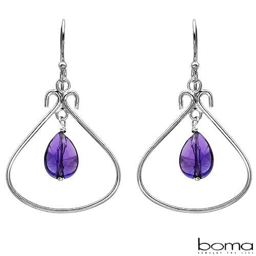 BOMA Majestic Chandelier Earrings With 2.50ctw Genuine Amethysts 925 Sterling silver Length 37mm