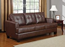 Hot Sale Brown Bonded Leather Tufted Sleeper Sofa by Coaster Furniture