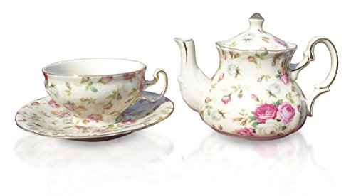 Elizabeth Park Floral Rose Chintz Tea for One Porcelain Cup, Teapot and Saucer Set (English Teapot For One compare prices)