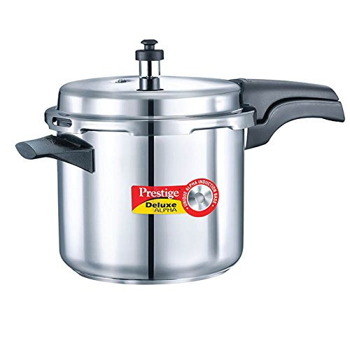 Prestige Alpha PRSDA-3.5L Induction Base Stainless Steel Deluxe Pressure Cooker, 3.5 L/Small, Silver pressure cooker