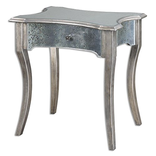 """Uttermost 24508 Jovannie - 27"""" Accent Table, Brushed Silver/Antique Mirror Finish"""