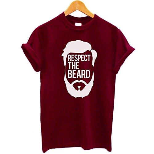 "T-shirt Uomo - ""Respect the beard"" - Maglietta cool funny 100% cotone LaMAGLIERIA,XL, Burgundy"