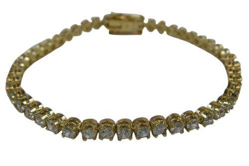 Gold Tennis Bracelet With Round Stones - Gold Cubic Zirconia Round Gem Tennis...