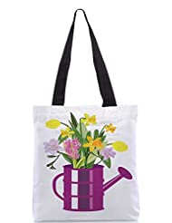 Snoogg Abstract Spring Illustration With Lots Of Flowers Designer Poly Canvas Tote Bag