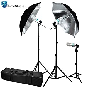 Photography Photo Portrait Studio 600W Day Light Black / Silver Umbrella Continuous Lighting Kit by LimoStudio