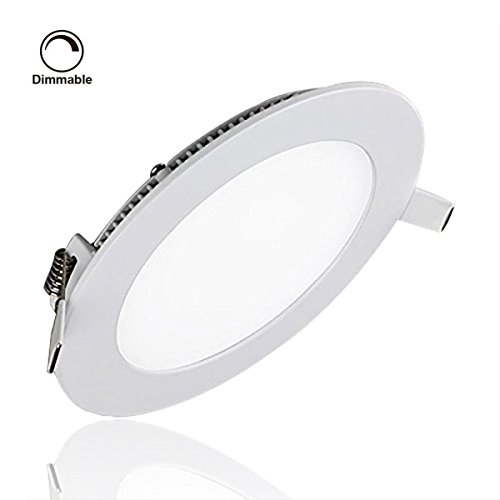 ProGreen 9W Flat LED Panel Light Lamp, Dimmable Round Ultrathin LED Recessed Downlight, 720lm, Warm White 3000K, Cut Hole 4.9 Inch, Panel Ceiling Lighting with 110V LED Driver (Led Light Panel Ceiling compare prices)
