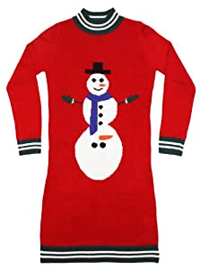 Ugly Christmas Sweater - Excited Snowman Naughty Holiday Sweater Dress in Red