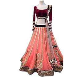 Khazanakart Designer Pink Color Net Fabric Un-stitched Lehenga Choli With Chiffon Dupatta Material.