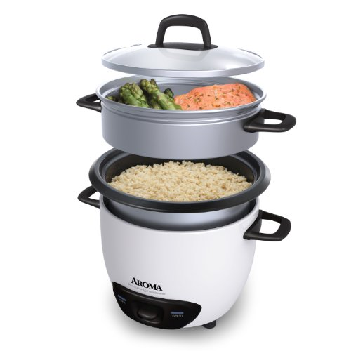 Imagen de Aroma ARC-743-3-1NG Cup (sin cocinar) 6-Cup (cocido) Arrocera y vaporera, Blanco