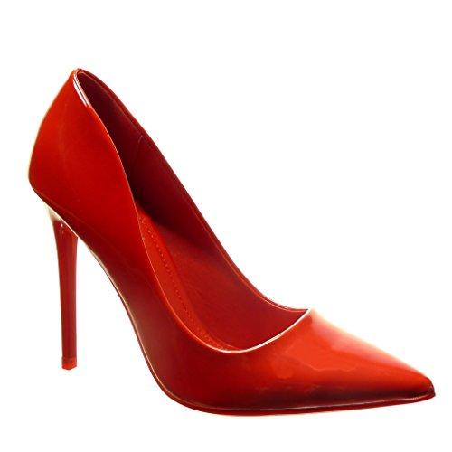 Angkorly-Chaussure-Mode-Escarpin-stiletto-sexy-femme-verni-brillant-Talon-haut-aiguille-11-CM-Rouge