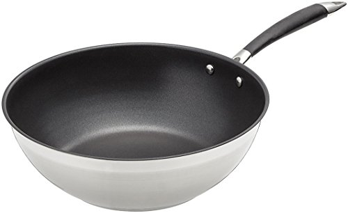 AmazonBasics - Padella da wok in acciaio INOX, 28 cm