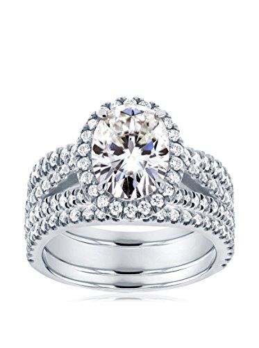 Kobelli 14K White Gold Oval-Cut Moissanite & Diamond Halo 3-Piece Bridal Ring Set