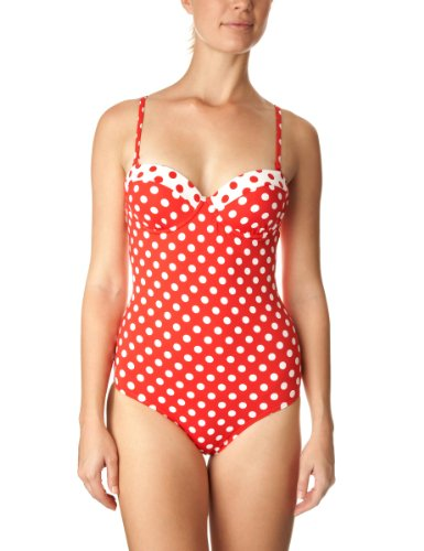 Moontide Spot On Underwired Balconette Swimsuit C/D Womens Swimsuit red/white 8