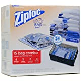 Ziploc Space Bag 15 Bag Space Saver Set (2 XL, 5 L, 4 M, 4 Travel)