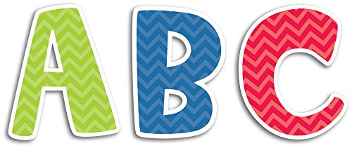 Creative Teaching Press Uppercase 2-Inch Letter Stickers, Chevron Solids (4399)