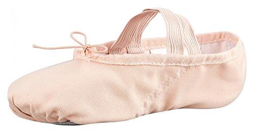 tanzmuster Ballettschuhe / Ballettschläppchen aus Leinen, geteilte Sohle, für Kinder und Erwachsene in rosa-apricot in den Größen 22-45.