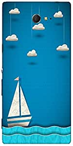 Snoogg Sailing Boat And Clouds Designer Protective Back Case Cover For Sony X...