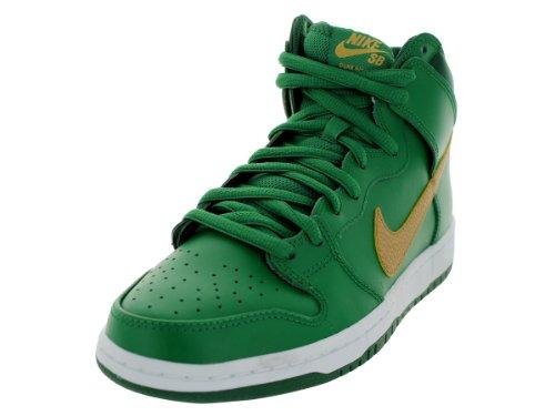 Nike Men'S Dunk High Pro Sb Pn Grn/Mtllc Gld/Grg Grn/Pn Gr Skate Shoe 8 Men Us