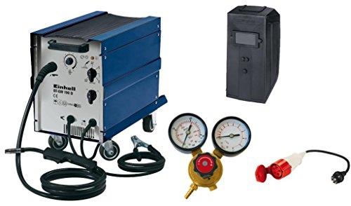 Einhell-Schutzgas-Schweigert-BT-GW-190-D-41-V-inkl-Masseklemme-Brenner-Ventilatorkhlung-fahrbar-Schweischirm-Druckminderer-Adapterkabel