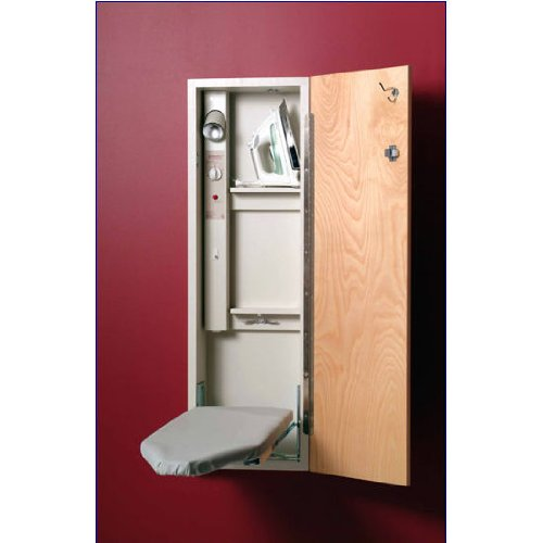 """42"""" Built-In Ironing Center With Electrical Cord Wrap And Adjustable Swivel Board With Mirror Door"""