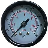 "PneumaticPlus Air Pressure Gauge for Air Compressor WOG Water Oil Gas 1-1/2"" Dial Center Back Mount 1/8"" NPT 0-160"