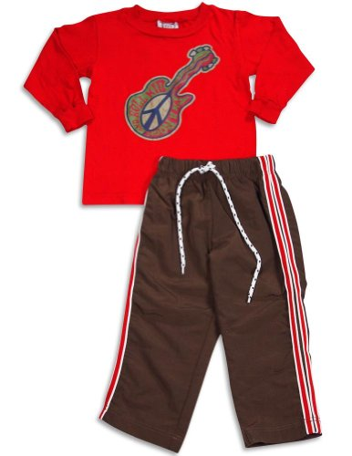 Mis Tee V-Us - Little Boys Long Sleeve Pant Set, Red, Brown 29369-2T front-696264