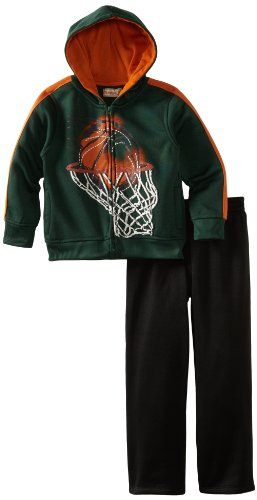 Kids Headquarters Boys 2-7 Hooded Jacket With Pant, Green, 4