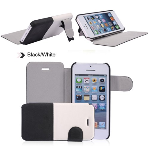 Pioneer Tech® Dual Colors Fashion Flip Wallet Stand Skin Case Cover For Apple Iphone 5C (Black / White)