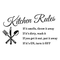 SJINC Newest Hot Sale Hot Removable Kitchen Rules Words Wall Stickers Decal Home Decor Vinyl Art…