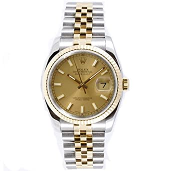 Rolex Mens New Style Heavy Band Stainless Steel & 18K Gold Datejust Model 116233 Jubilee Band Fluted Bezel Champagne Stick Dial