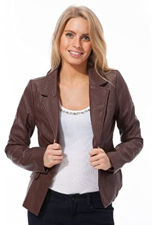 Dollhouse Lamb Touch Faux Leather Blazer with Leopard Print Lining in Chestnut Brown Size: XL