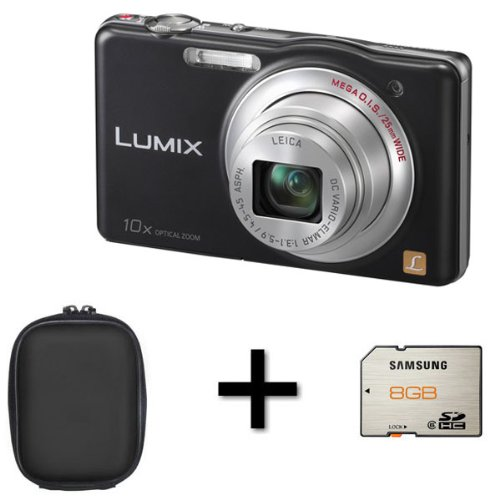 Panasonic DMC-SZ1 Compact Camera - Black + Case and 8GB Memory Card (16.1MP 10x Optical Zoom) 3 inch LCD