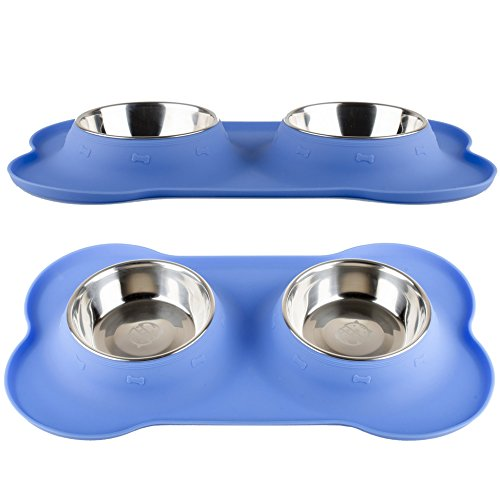 Fossa Stainless Steel Double Dish No Spill Pet Bowl With