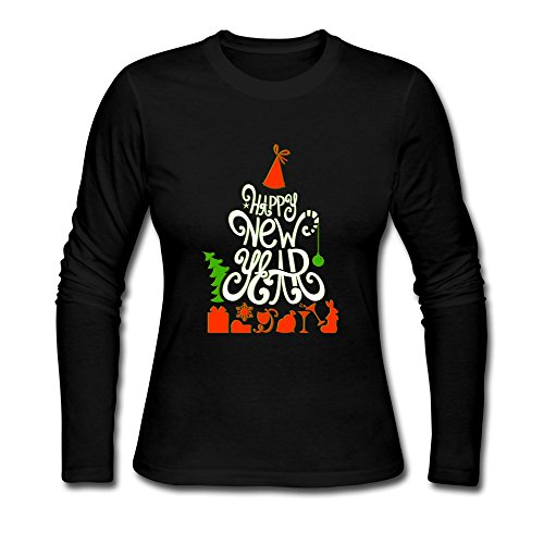 KINSIN Women's Happy New Year 2016 Long Sleeve T-shirt Black L
