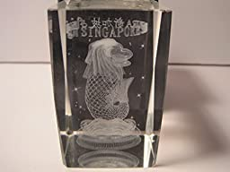 Laser Cut Crystal Paperweight, Singapore with the Merlion, 3 Inches