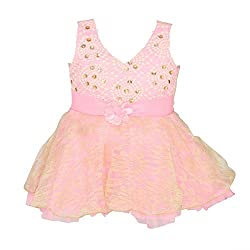 ChipChop Pink Empire Waist Party wear Round Neck Dress for Girls