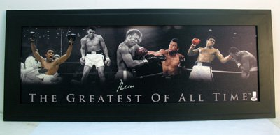 Autographed Muhammad Ali Photo - Singed Framed 12x36 Collage Hits - PSA/DNA Certified - Autographed Boxing Photos