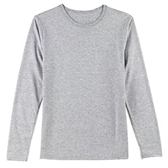 Hanes Ladies 100% Cotton Long Sleeve T-Shirt - Light Steel Color, Ladies Medium