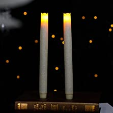buy Home Impressions Battery Operated Flameless Real Wax Melted Led Taper Candle Light,Six Hour Timer,9-Inch, White Sparkling Glitter ,Pack Of 2