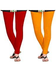 Aannie Women's Cotton Slim Fit Leggings Combo Pack Of 2(Pure Red,Pulpy Orange)