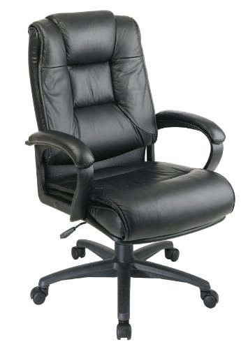 Office Star Products EX5162G13 Exec. High-Back Chair,26-1/2 in.x31-1/2 in.x46-1/4 in.,Leather,Black