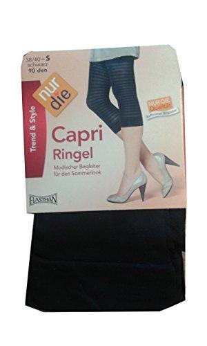 Nur Die Damen Legging, gestreift 711691/Capri Ringel, Gr. 38/40 (S), Schwarz (schwarz 094)